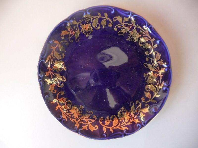 Eleganter kleiner Teller Kobaltblau Gold / Bareuther Porzellan