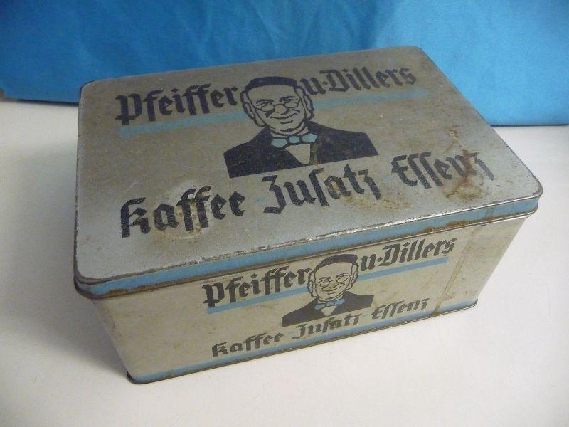 Große Blechdose Reklame Pfeiffer u. Diller Kaffee-Zusatz-Essenz