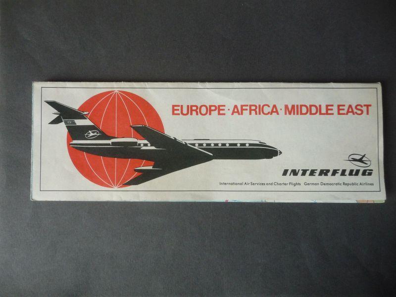 Reiseprospekt Landkarte Interflug Verbindungen Europa Afrika Mittl. Osten1969