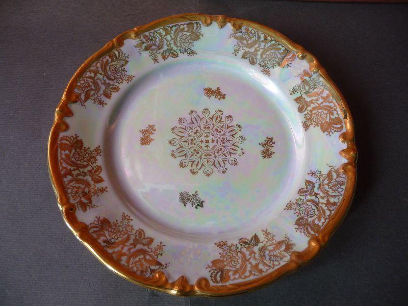 Kleiner Teller Kuchenteller Weiß Gold Perlmutt-Oberfläche / Roschütz Porzellan