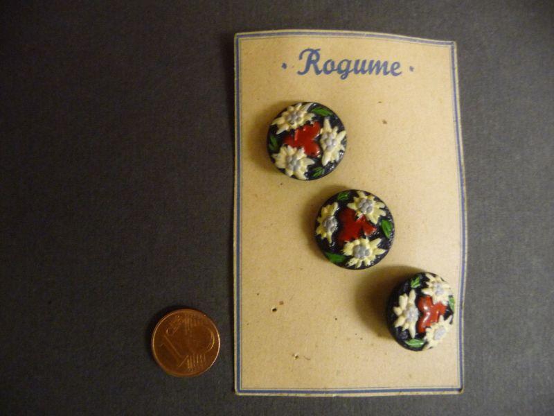 3 alte böhmische Glasknöpfe Knopf Musterkarte