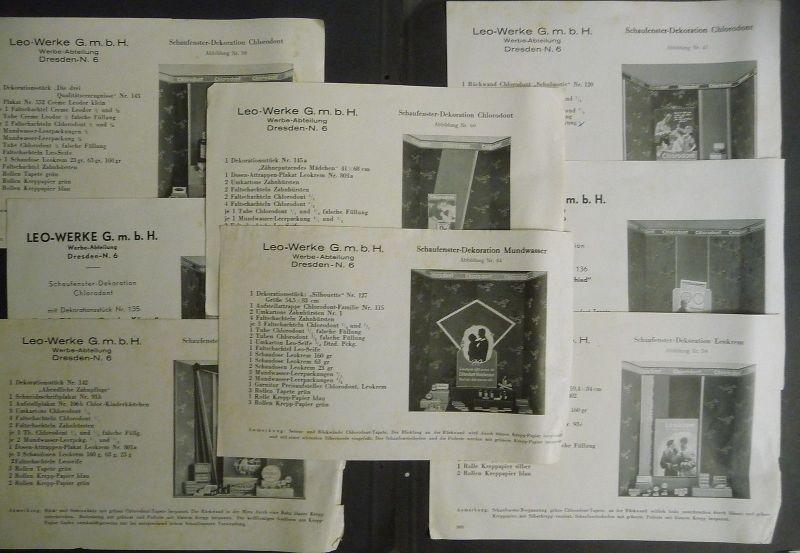8 Anleitungen Schaufenster Dekoration Chlorodont / Leo-Werke Dresden ca. 1940