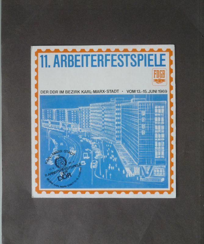 Briefmarken-Sonderblatt Arbeiterfestspiele Karl-Marx-Stadt 1969