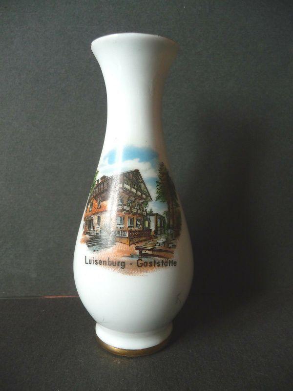 Kleine Vase Andenkenporzellan Gasthaus Luisenburg Wunsiedel