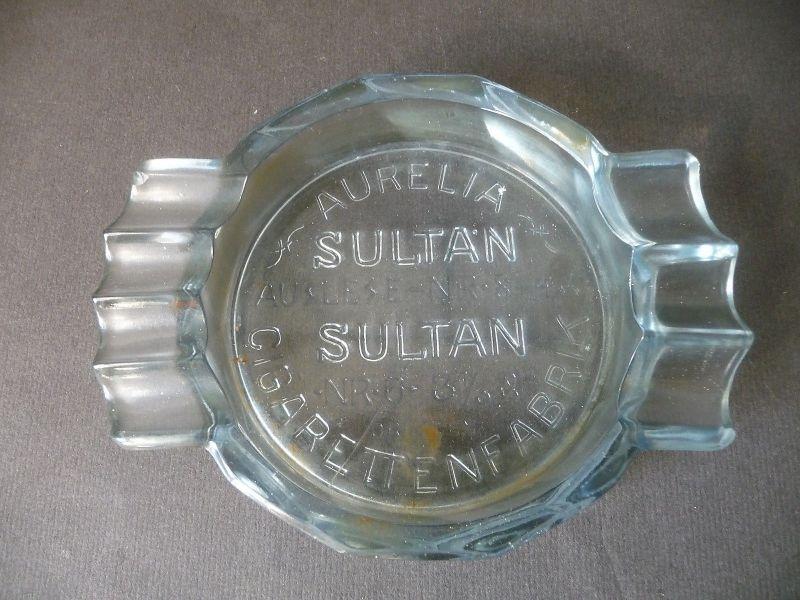 Alter Aschenbecher Glas Reklame Aurelia Sultan Zigaretten