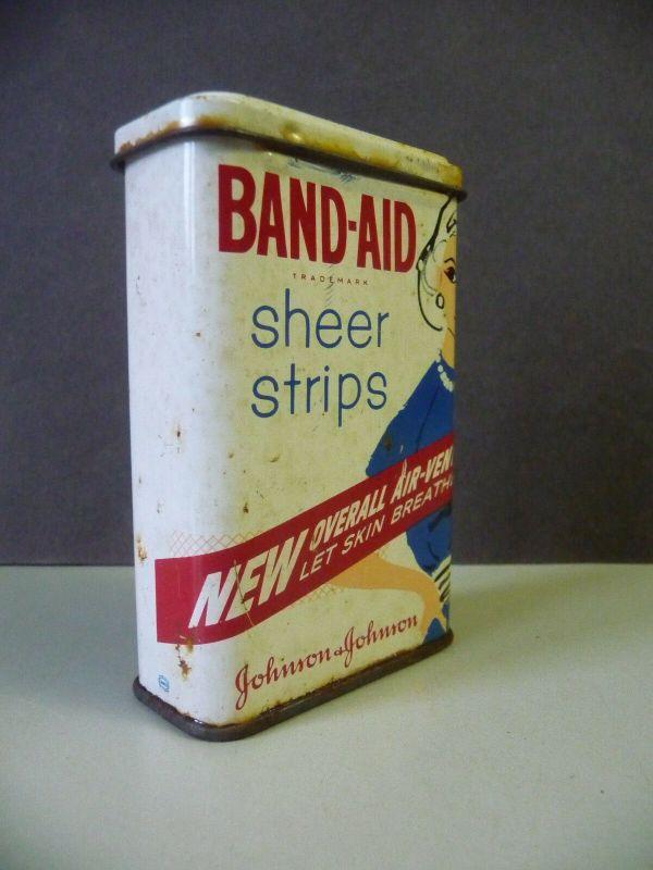 Kleine Blechdose Band-Aid Sheer Strips / Heftpflaster Johnson-Johnson