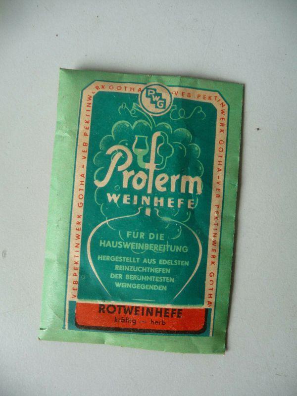 Orig. Tüte Beutel Packung Proferm Weinhefe Rotwein / VEB Pektinwerk Gotha