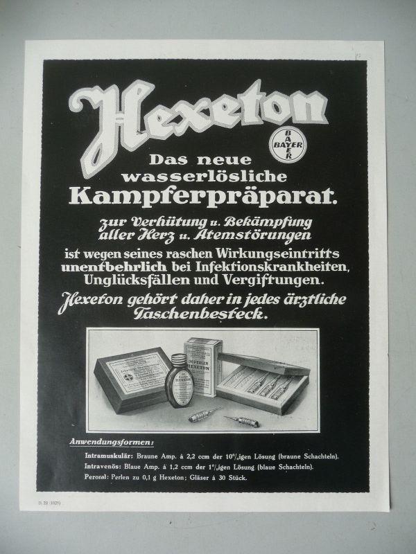 Orig. Reklame Anzeige Blatt Hexeton Kampfer Medizin / Bayer AG ca. 1940