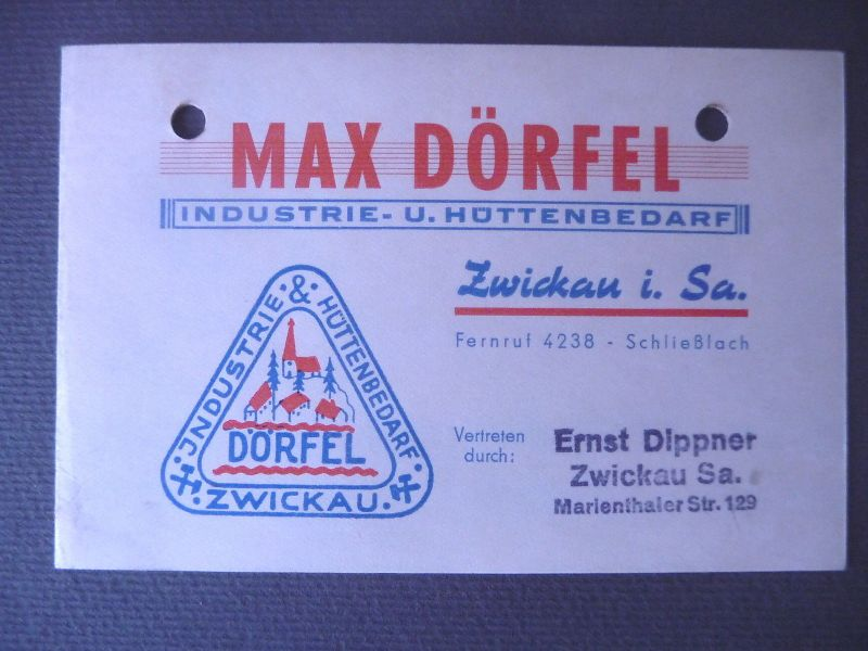 Visitenkarte Geschäftskarte Fa. Max Dörfel Industriebedarf Zwickau