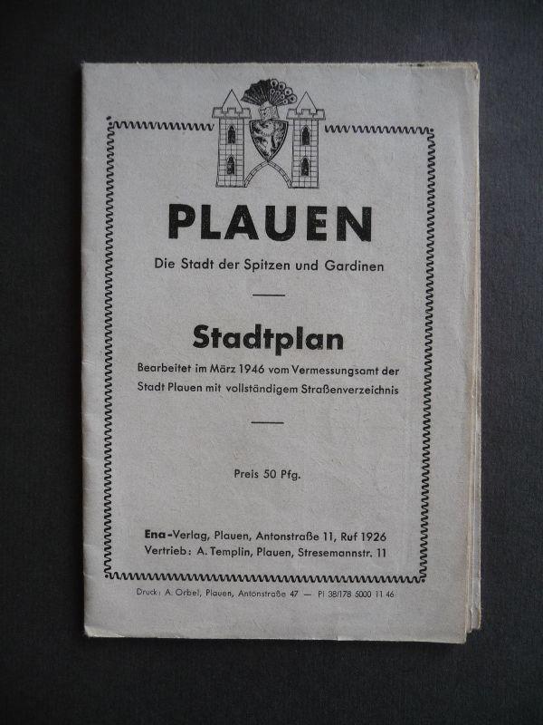 Stadtplan Plauen Vogtland Straßenverzeichnis 1946