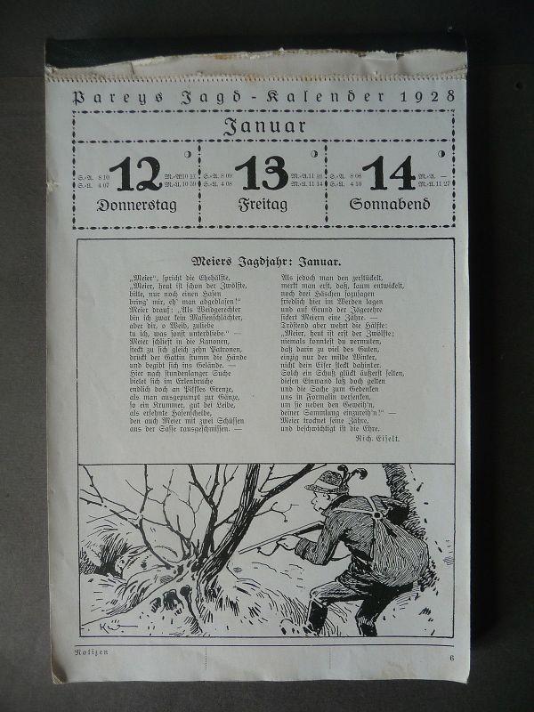 Pareys Jagd-Kalender 1928 unvollständig