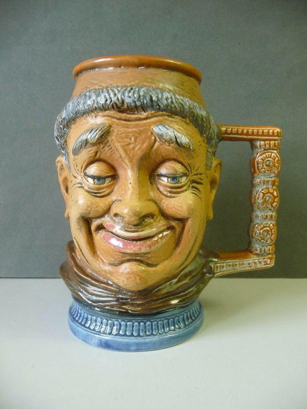 Krug Keramik Mönch Gesicht / Capodimonte Made in Italy