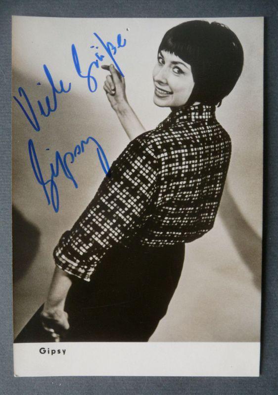 Autogrammkarte Gipsy Schönfeld / Sängerin Jazz DDR handsigniert