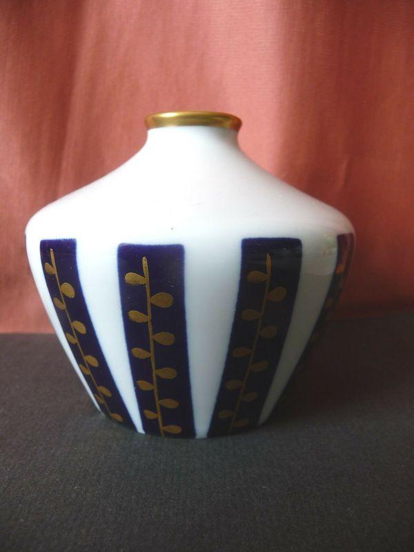 Kleine Vase Gefäß mit Kobaltstreifen / Aelteste Volkstedter Porzellanmanufaktur