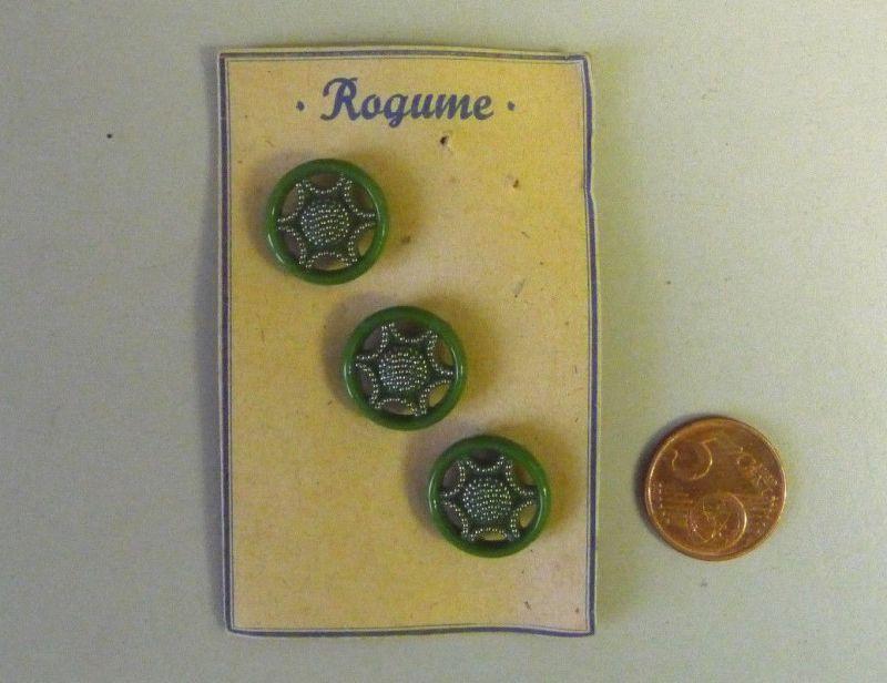 3 alte böhmische Glasknöpfe Knopf Radmuster grün Rogume