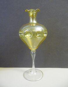 Glasvase Kugelvase gelb mit Fuß 20cm Glaskunst Lauscha?