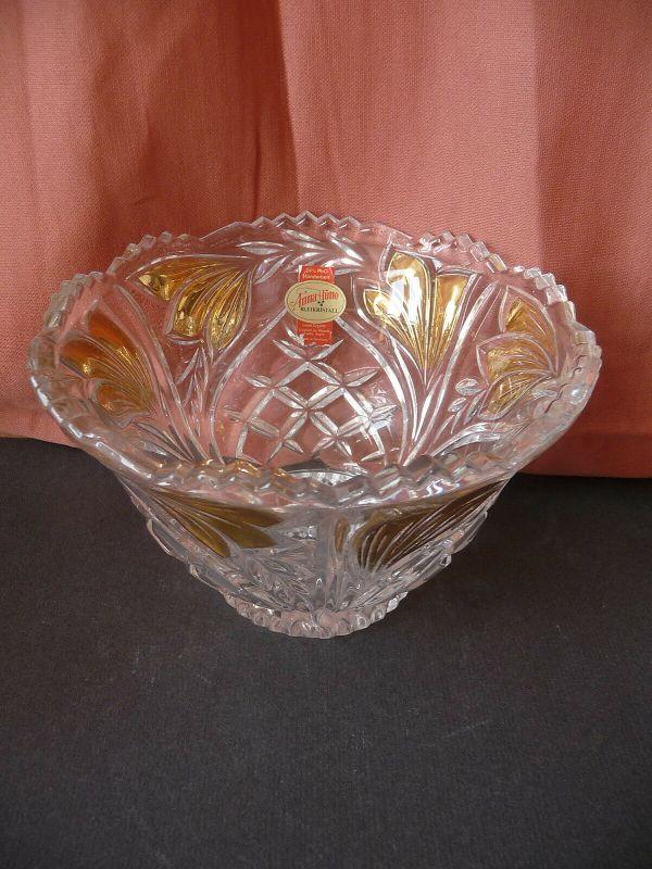 Wunderbare Kristallglas-Schüssel Schale Goldfarbe / Anna-Hütte Bleikristall