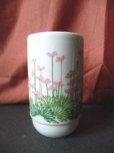 Kleine Vase Becher rosa Blumen / Rosenthal studio-linie