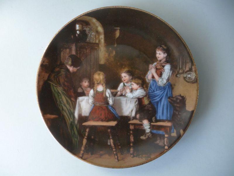 Sammelteller Franz v Defregger Familienporträts Abendgebet / Bareuther Porzellan