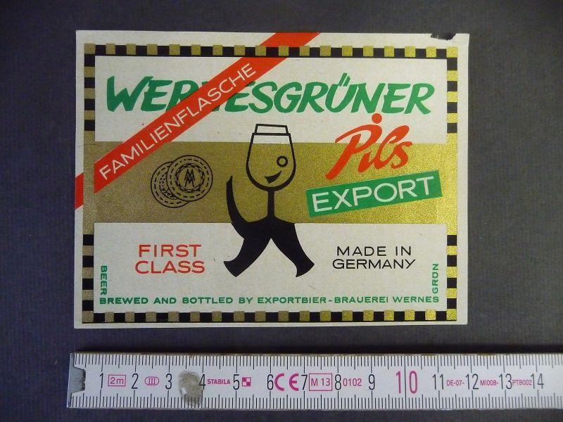 Bier-Etikett Wernesgrüner Pils Export Familienflasche