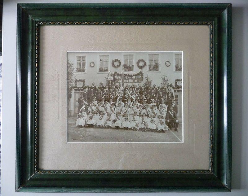 Großes Orig. Foto Gruppenbild Schützenverein Leupoldsgrün b. Hof Gh. Zur Krone