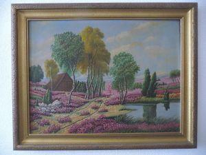 Gemälde Heidelandschaft gerahmt unsigniert