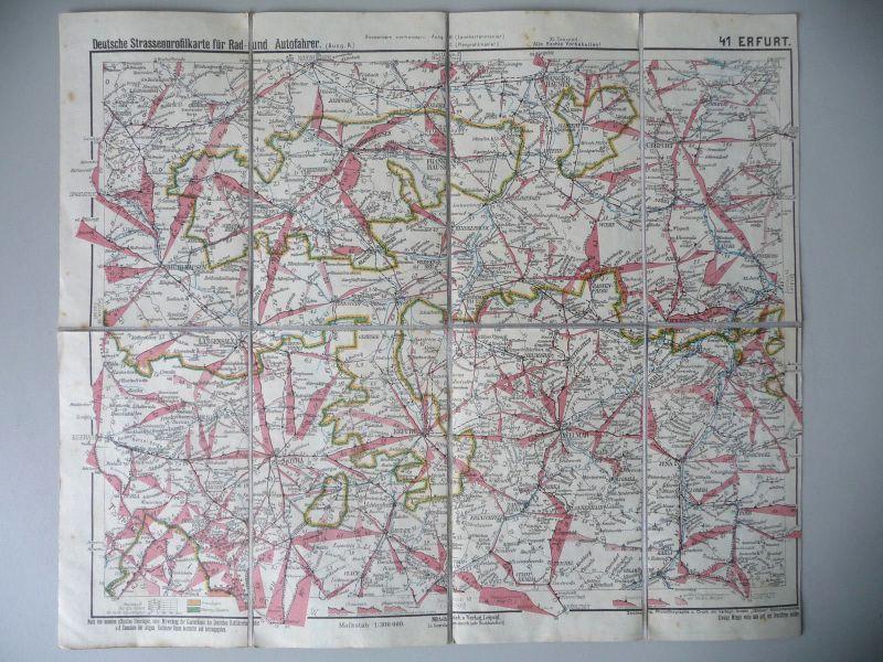 Alte Landkarte Straßenprofilkarte Nr. 41 Erfurt Thüringen ca. 1920