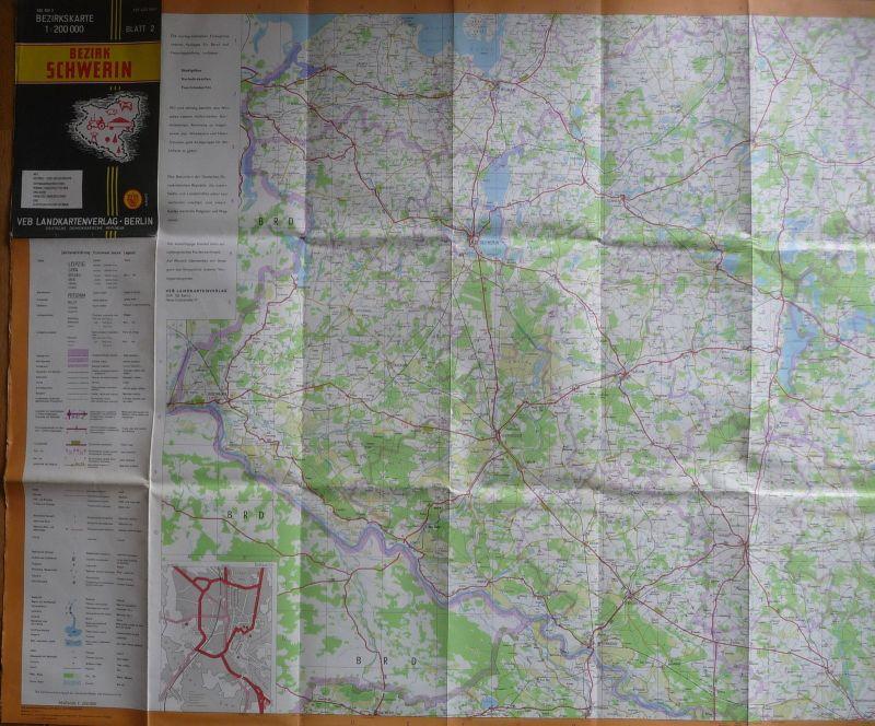 Landkarte Bezirkskarte Schwerin / Bezirk Schwerin DDR 1974
