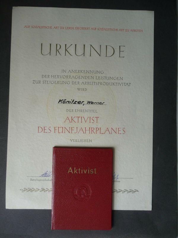 Urkunde Ausweis Verleihung Aktivist des Fünfjahresplans IG Wismut Zobes 1959