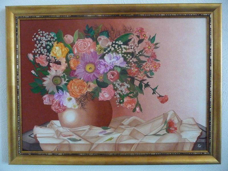 Gemälde Blumenstrauß auf Tisch Stillleben / Steffi Thoß ca. 2006