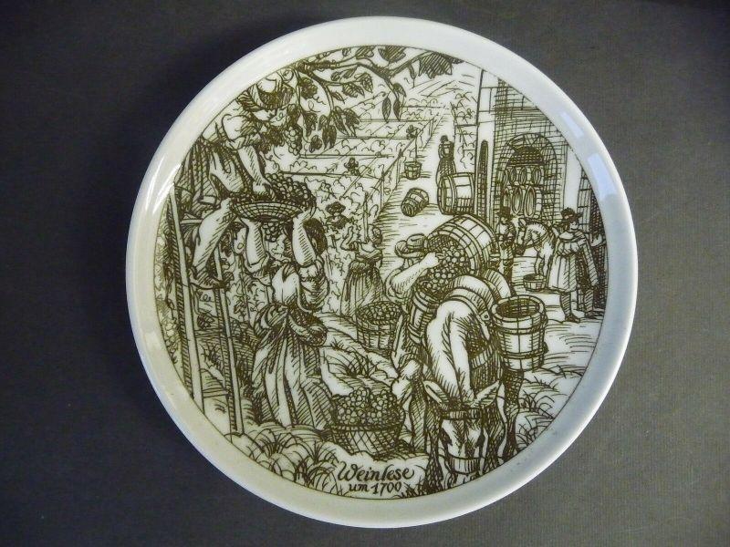 Wandteller Sammelteller Weinlese Weinbau / Hutschenreuther Porzellan lim. Aufl.