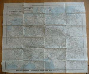 Eisenbahn-Übersichtskarte Deutschland Europa Welt mit Nebenkarten ca. 1920