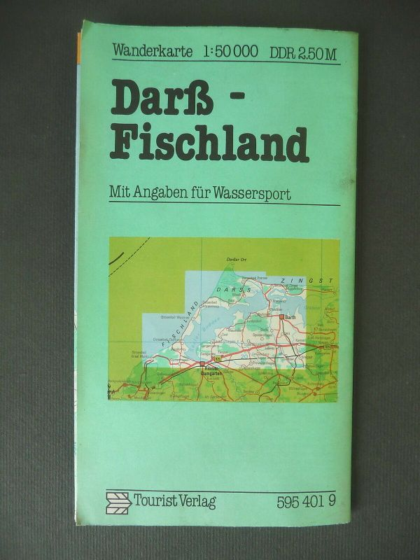 Wanderkarte Landkarte Darß Fischland 1984