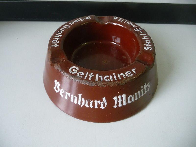 Aschenbecher Bernhard Manitz Mittweida / Geithain Stahl-Emaille