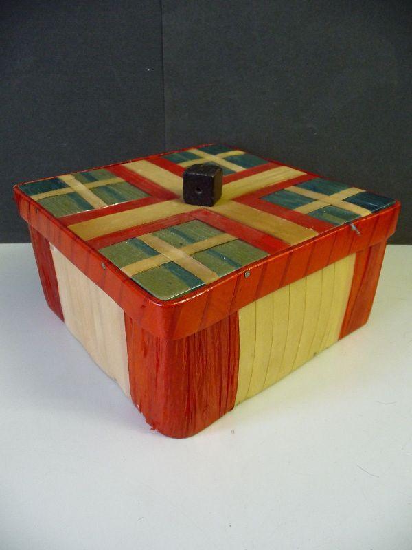Alte Schachtel Box Aufbewahrung Holz Glanzfolie