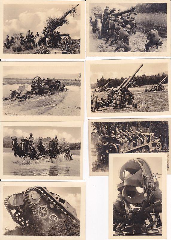 Serie 8 Kleinfotos Kaufbilder Sammelbilder Soldaten Gerät Wehrmacht WKII