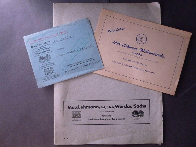 Mappe Briefumschlag Preisliste Essigfabrik Max Lehmann Werdau