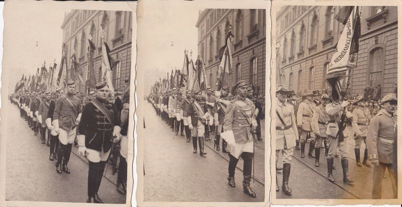 3 Orig. Fotos Postkarten Parade Soldaten Studenten Sächs. Militär-Verein Dresden