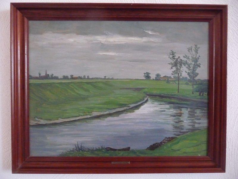 Gemälde Flußlandschaft in düsterer Stimmung / M. Nopitsch