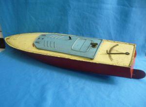Altes Blechboot gelb-rot Blechspielzeug Spielzeugboot defekt