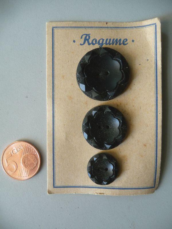 3 alte böhmische Glasknöpfe Knopf