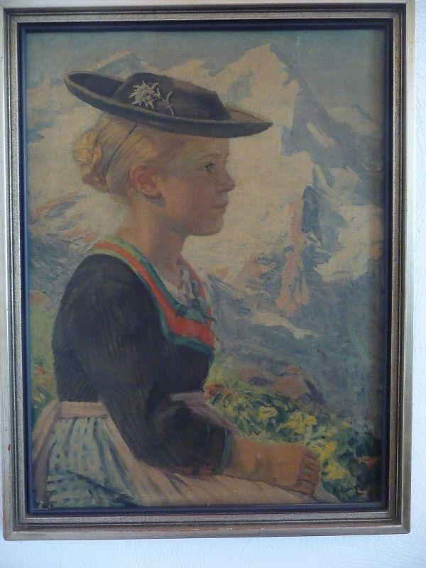 Wandbilddruck Kunstdruck Öldruck Mädchen in Tracht / Hedwig v. Schlieben