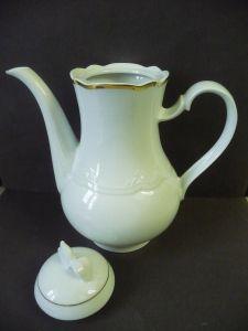 Kaffeekanne Goldrand klassisch weiß / Royal RC Porzellan