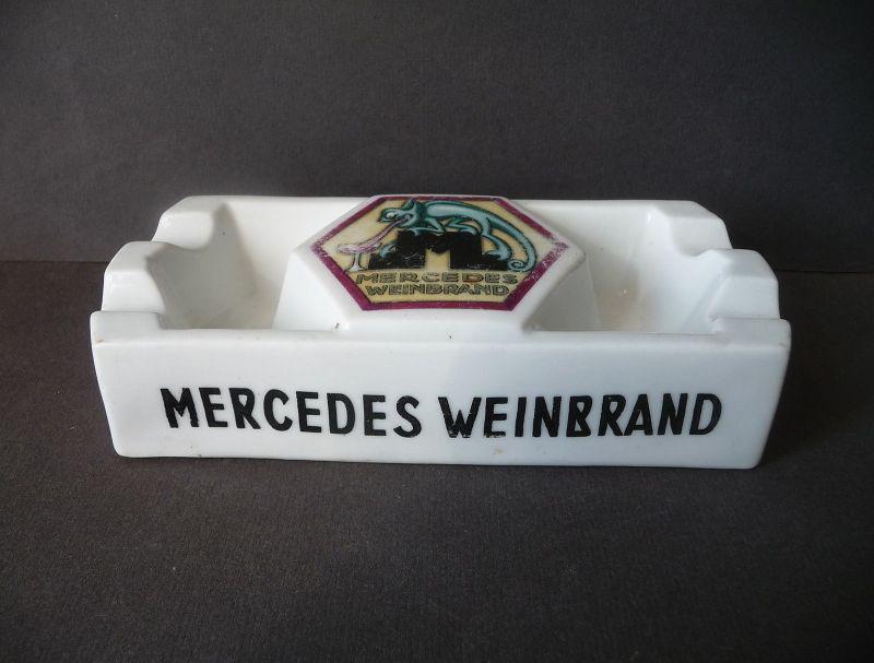Alter Aschenbecher Porzellan Reklame Mercedes Weinbrand Liköre