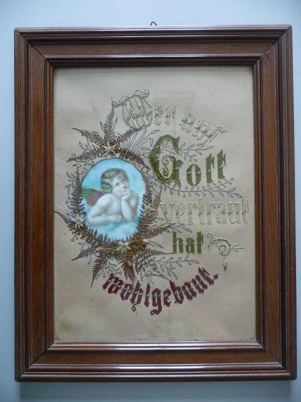 Spruchbild Segen Haussegen gestickt mit Engel ca. 1920