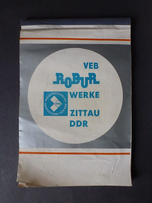 Notizblock VEB Robur Werke Zittau Reklame Werbeartikel 1972