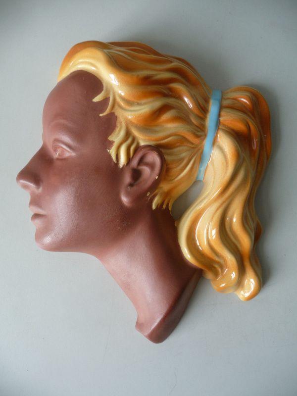 Wandmaske Mädchenkopf Frau braun-gelb / Cortendorf Keramik