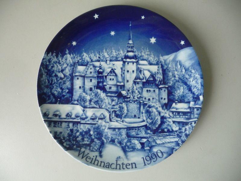Weihnachtsteller SAmmelteller Burg Lauenstein Kobaltblau 1990