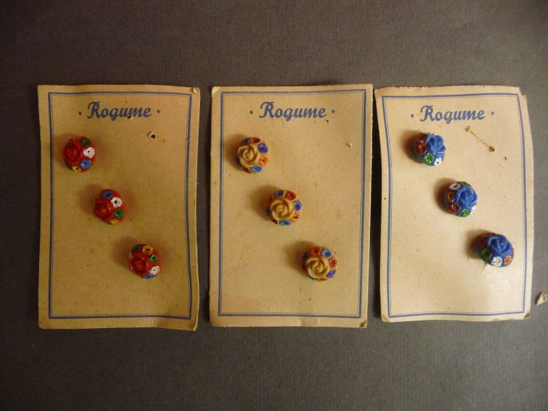 3 x 3 alte böhmische Glasknöpfe Knopf