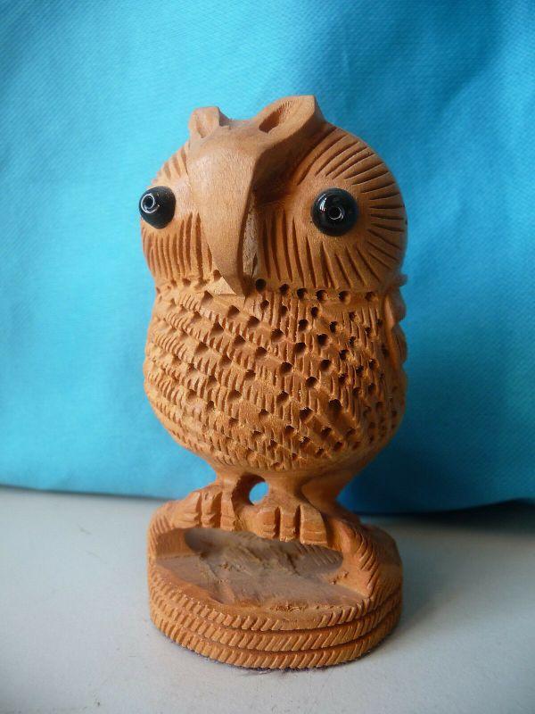 Kleine Eule Holzfigur Deko für Schreibtisch Bücherregal